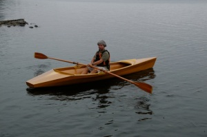 Skip Izon of Shadow River Boatworks will display two 14 foot kayaks and Meade Gougeon will display his 15 by 8 foot sailing canoe