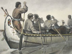 Foggy canoe stroke