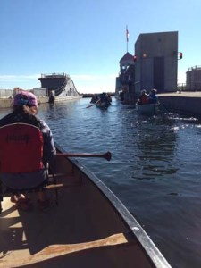 Approaching the Liftlock from the top in a canoe