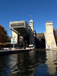 Peterborough Lift lock from the lower level
