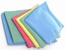 Microfibre clothes like these can be purchased at most grocery and hardware stores.