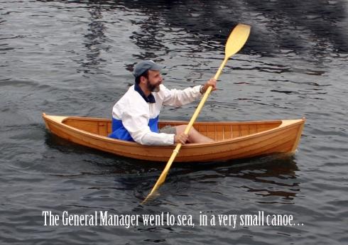 very small canoe with caption