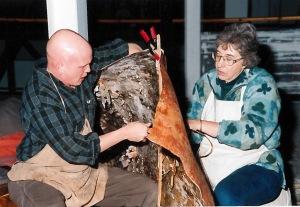 Jeremy Ward and Ipie Van der Veen working together to build the wigwam in 2001.
