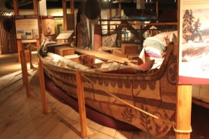 North Canoe filled with trading goods carrying blankets, copper wire, furs and much more!