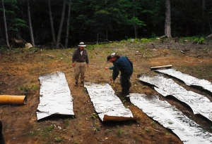 Birch bark sheets laid out for measuring (CCM)