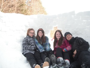 Our three foot tall snow block fort. From left to right: Myself (Jack), Madeline, Leah and Dylan.