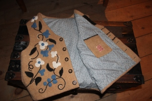 Ipe's beautiful handmade vest. Note the label!