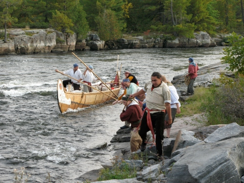 Lining Montreal Canoe up the French River Rapids (photo:CCM)