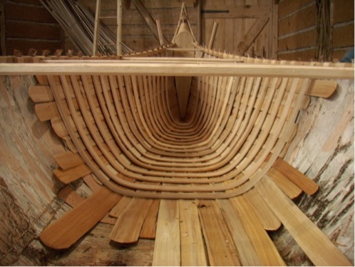 Montreal Canoe interior, installing ribs and sheathing (CCM)