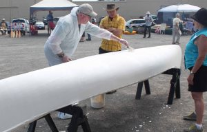 mike elliott filling canvas canoe