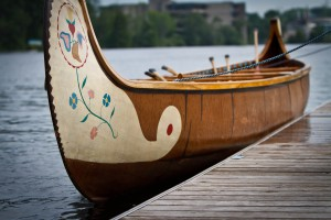 "'Birch bark like' voyageur canoe, dubbed ""The Beast"""