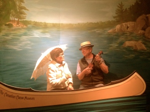 "Some visitors from Vancouver enjoying our ""Can I Canoe You Up the River?"" exhibit during Late Night Thursdays"