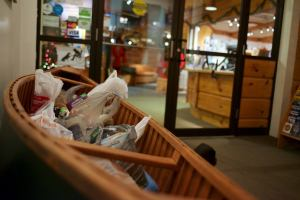 Canoe full of non-perishable food donations from our wonderful guests!